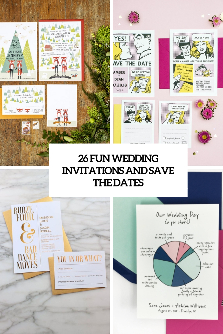 fun wedding invitations and save the dates cover