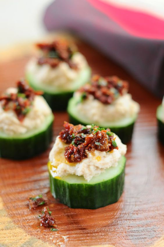 white bean and sun dried tomato cucumber appetizers are vegan and gluten-free