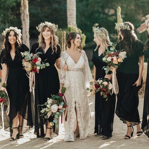 chic black wrap maxi dresses with high low skirts and short sleeves for a fall or winter wedding