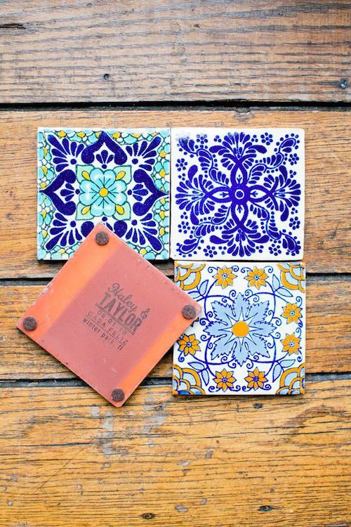 personalized Mexican tiles make great coasters and wedding favors at the same time