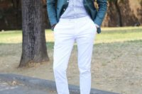 white pants, a plaid blue shirt, a teal blazer and creamy moccasins is a great look for a beach wedding