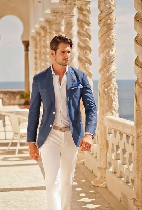 white pants, a white shirt, a blue blazer and a grey belt for a laconic and elegant beach wedding guest outfit
