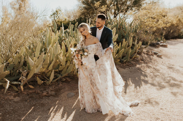 Peachy Desert Wedding With Boho Touches
