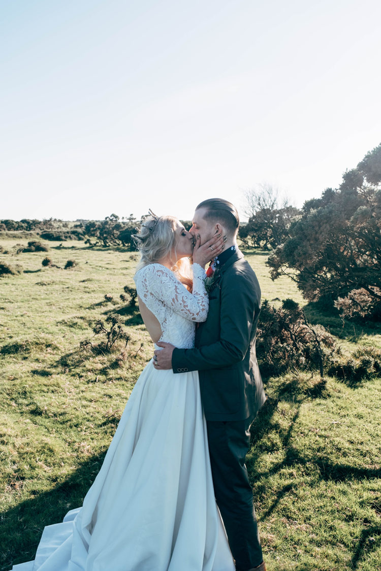 This couple went for a bold moorland wedding with a strong boho feel and rock n roll touches