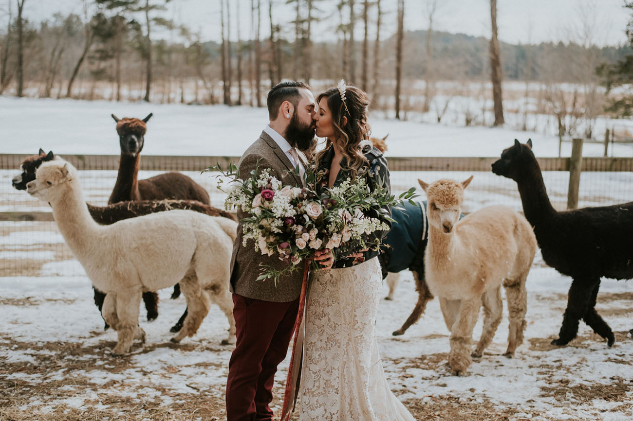 This stylish boho chic wedding shoot took place on an alpaca farm, which is a cozy idea