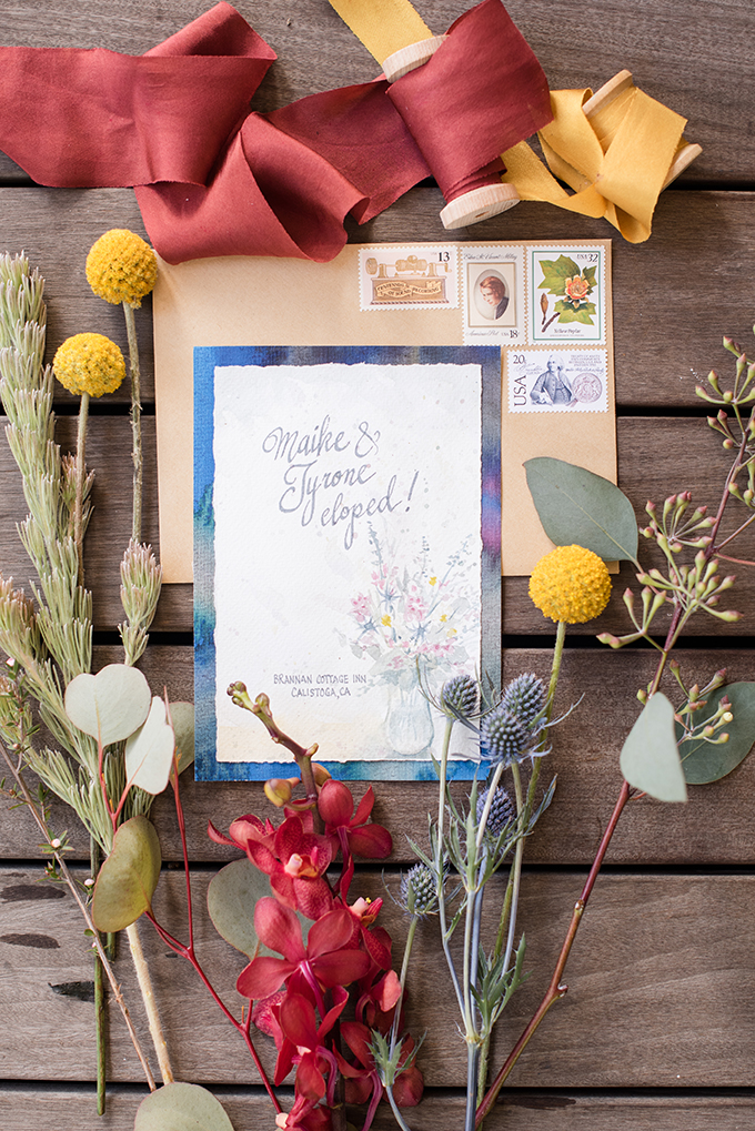 The wedding stationery was done with lots of color, retro stamps and watercolor