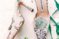 02 fashionable pointed toe floral embroidery mules with embellishments are perfect for a summer wedding