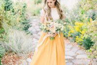 03 a bright spring bridal look with a neutral lace top and a yellow maxi skirt is a beautiful and trendy outfit