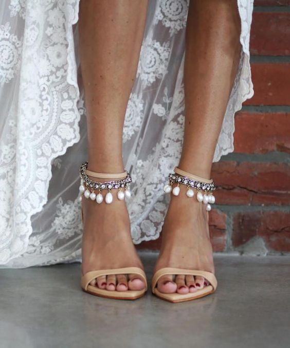 nude wedding heels with gorgeous ankle straps embellished with rhinestones and large pearls