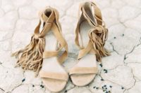 04 nude strappy wedding heels with long fringe will make your look free-spirited and look very boho