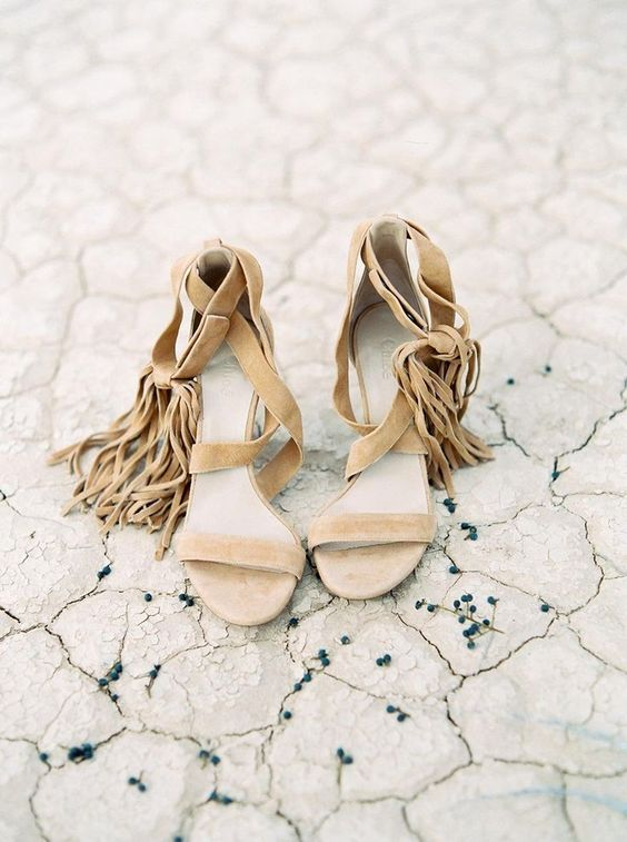 nude strappy wedding heels with long fringe will make your look free-spirited and look very boho