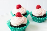 05 tasty gluten free, dairy free and nut free chocolate cupcakes topped with fresh raspberries