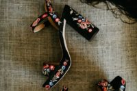 06 black velvet platform sandals with block heels and colorful floral embroidery all over for a boho festival wedding