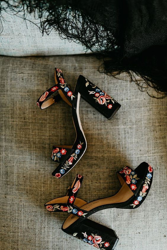 black velvet platform sandals with block heels and colorful floral embroidery all over for a boho festival wedding