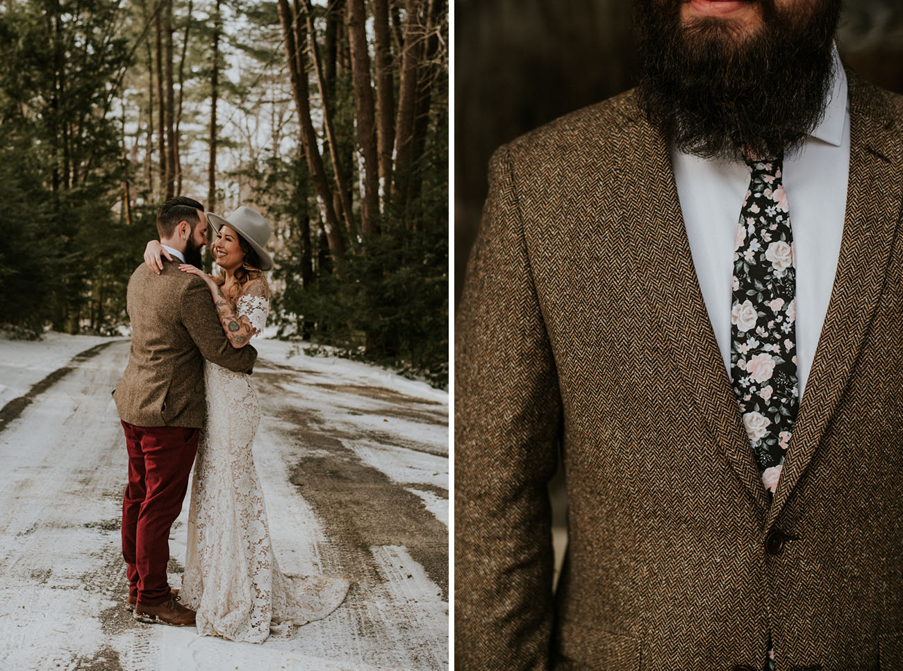 A floral tie is a fresh take on a traditional one and the bride tried on a hat