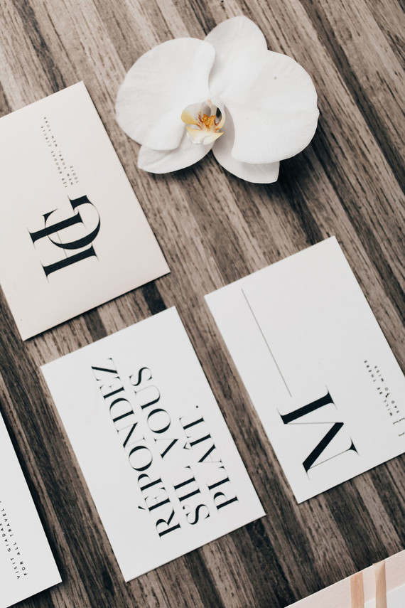The wedding stationery was done in modern style