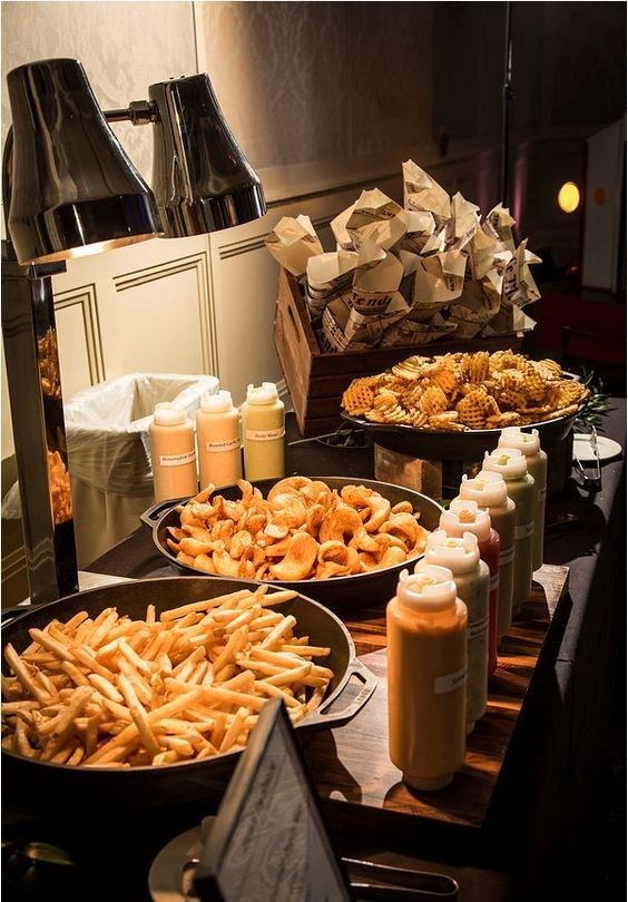 a French fry and waffles station with various sauces is a cool idea to go for