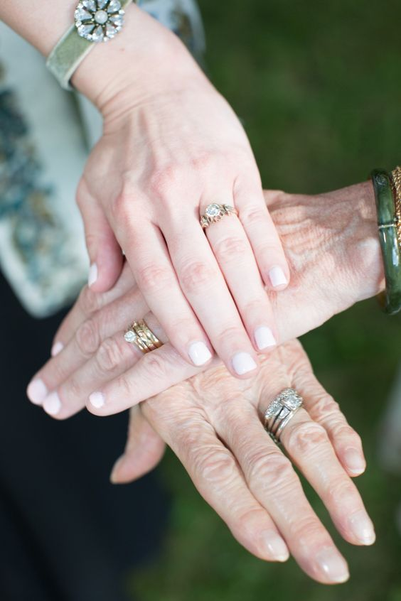 a bride can take a pic with her mom and grandmother and the rings to show off all the generations
