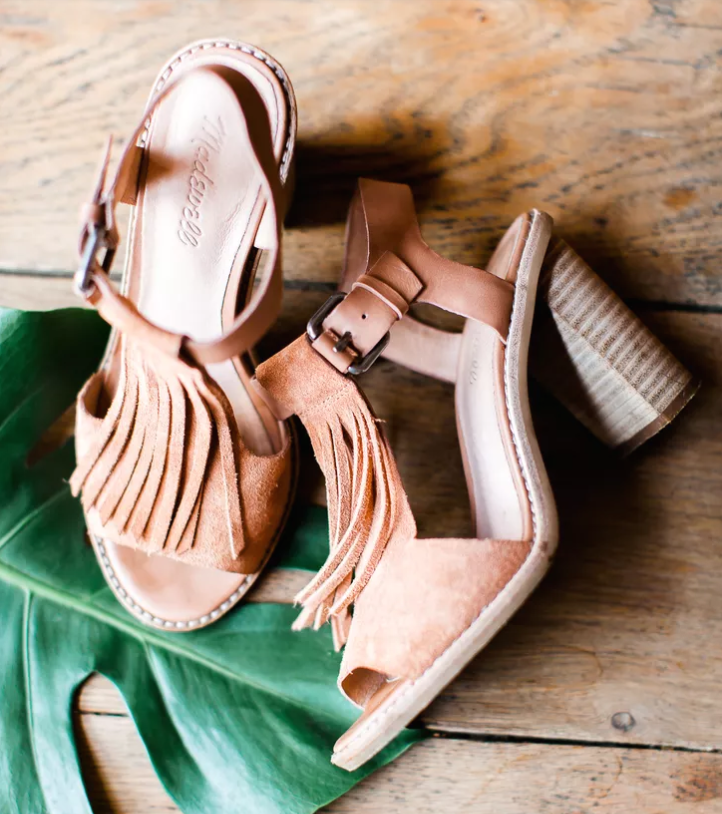 brown leather shoes with long fringe, cutouts and an open toe for a tropical wedding, your feet will breathe
