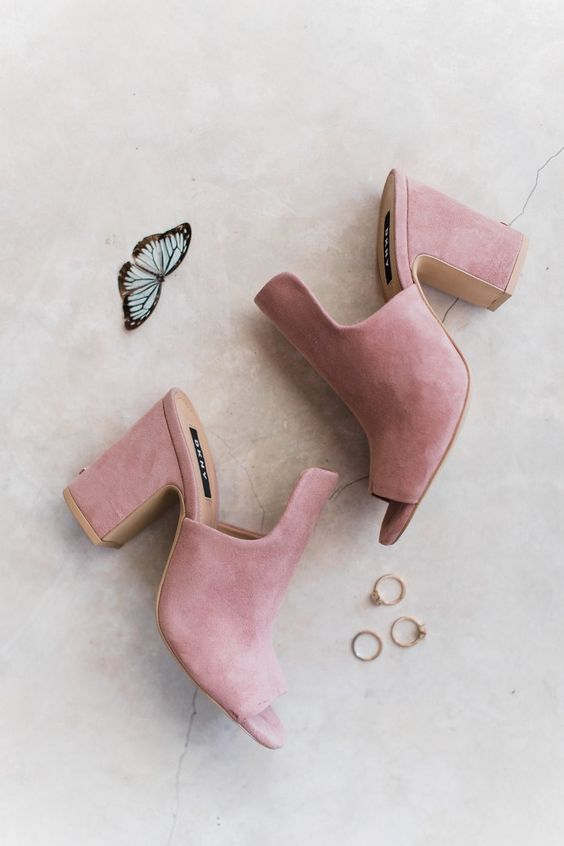 pink mules are a chic idea for a modern bride, they will give you a trendy feel and a girlish touch with their color