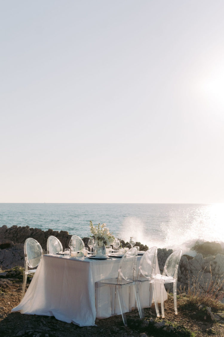 The wedding reception space was done right on the beach, next to the sea