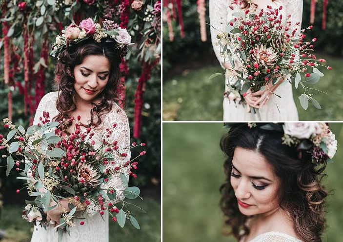 What a gorgeous and whimsy bridal bouquet in crimson and with berries