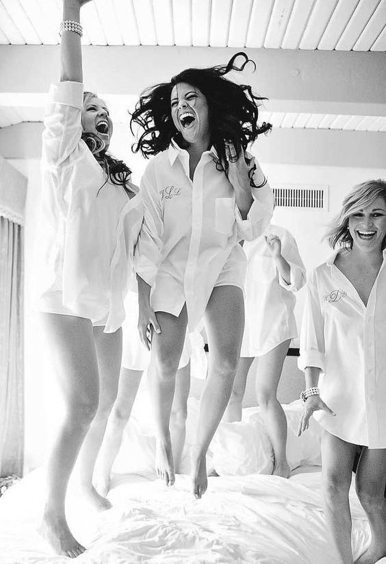bridesmaids having fun before gettign ready for the ceremony   offer them the same shirts, rompers or robes