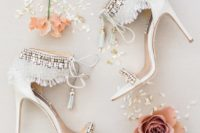 08 gorgeous white boho glam wedding heels with rhinestones, fringe and lace up tassels for a romantic yet free-spirited look