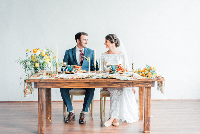 Bright citrus, bright blooms and textural greenery are what you need for a Mediterranean wedding