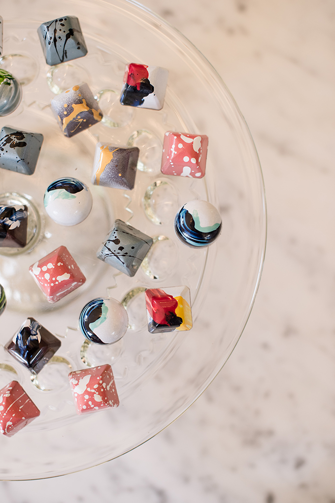 The wedding chocolate was colorful and fun, with a retro feel