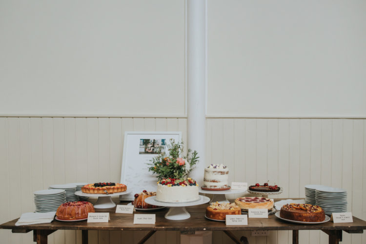 The wedding dessert table was very rich, with lots of tarts, pies and cakes