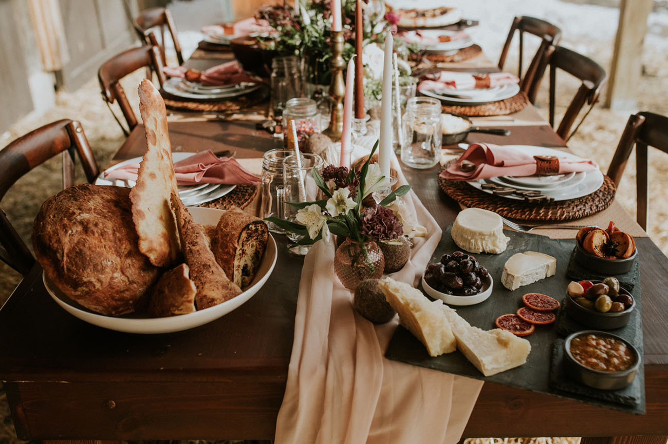 The wedding table runner was pastel, and there was much tasty food served for the shoot