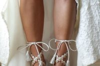 09 lace up boho wedding shoes in cream and nude, with geometric straps and tassels look very playful