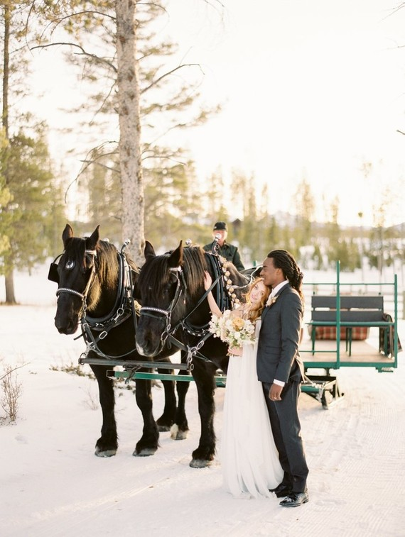 Why not ride a horse sleigh for your winter wedding