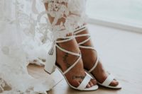10 low block heel wedding sandals with braided lacing up and tassels bring a light boho feel effortlessly and in a chic way