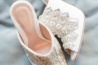 10 white heavily embellished mules for a fashion-forward bride who wants a touch of bling