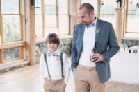 11 a relaxed groom look with a grey blazer, tan pants, a white shirt and striped bow tie, blue sneakers