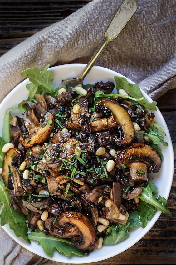 mushroom salad with lentils, caramelized onions, crunchy pine nuts, briny capers is a tasty option