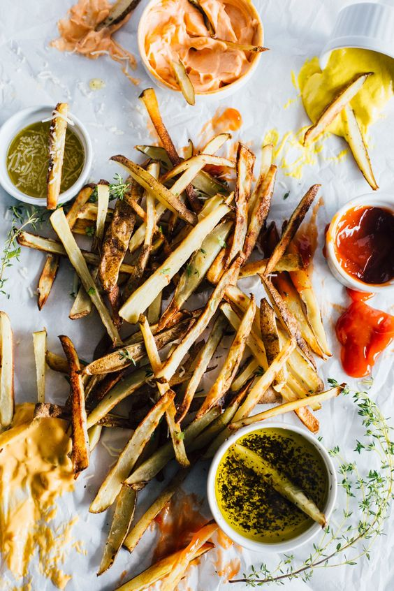 try fries of various kinds of vegetables, add delicious sauces, olive oil and dressings