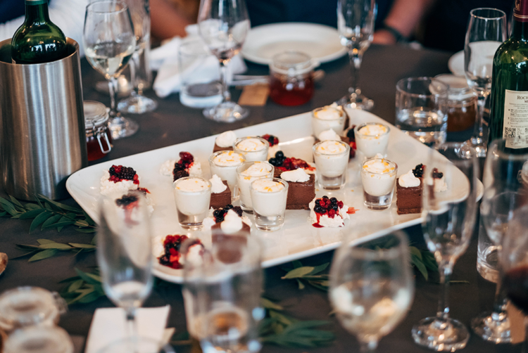 There were many desserts served, so the couple skipped the wedding cake