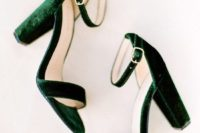 13 emerald velvet block heels with ankle straps will highlight your ankles and add a bold touch