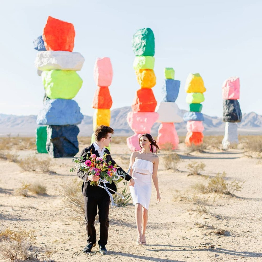 Seven Magic Mountains in Nevada is a gorgeous place to elope to if you love bold colors and color blocking