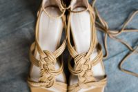 14 mustard wedding shoes with patterns made of leather straps and with ankels traps look very boho and vintage-inspired