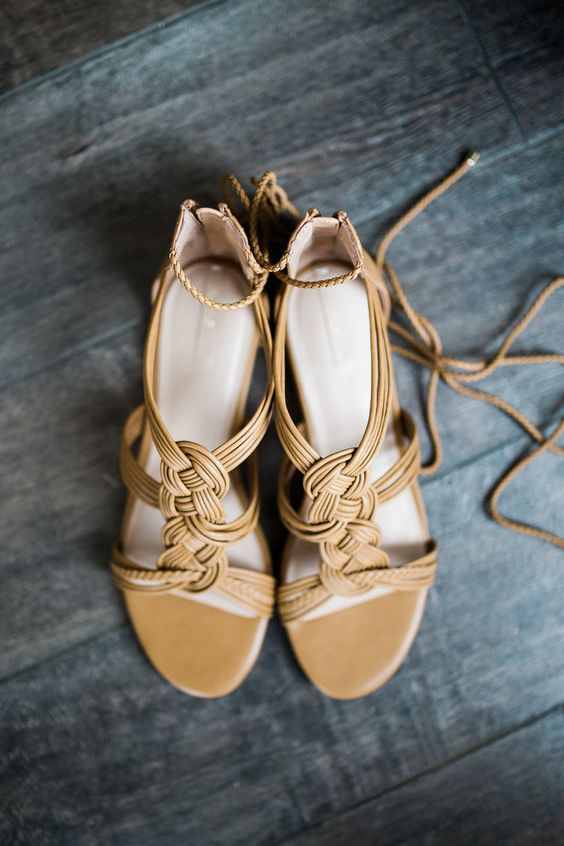 mustard wedding shoes with patterns made of leather straps and with ankels traps look very boho and vintage-inspired