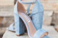 14 powder blue suede ankle strap sandals with block heels will be your something blue with a trendy feel