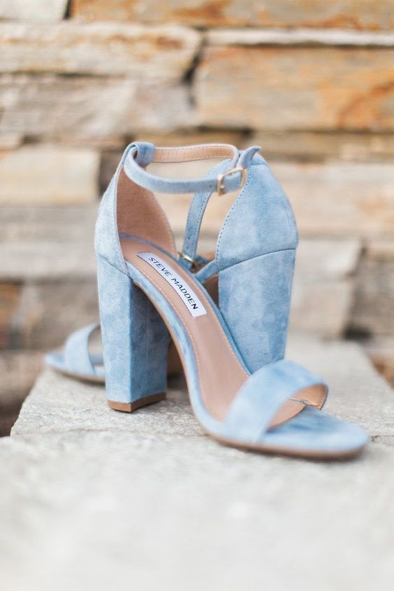 powder blue suede ankle strap sandals with block heels will be your something blue with a trendy feel