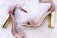 15 pink velvet ankle strap sandals with shiny gold block heels are a girlish idea to rock
