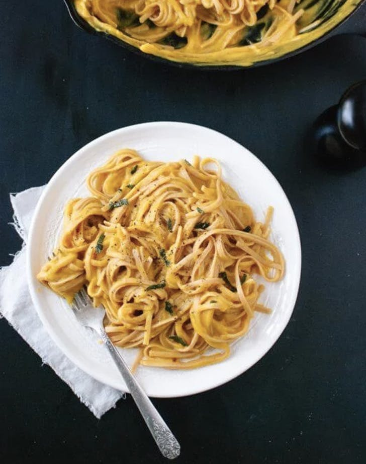 creamy butternut squash linguine with fried sage is a cool idea but there's cream, so keep it in mind