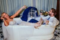 20 get into a bathtub together and have some drinks to get amazingly fun and excitign wedding pics