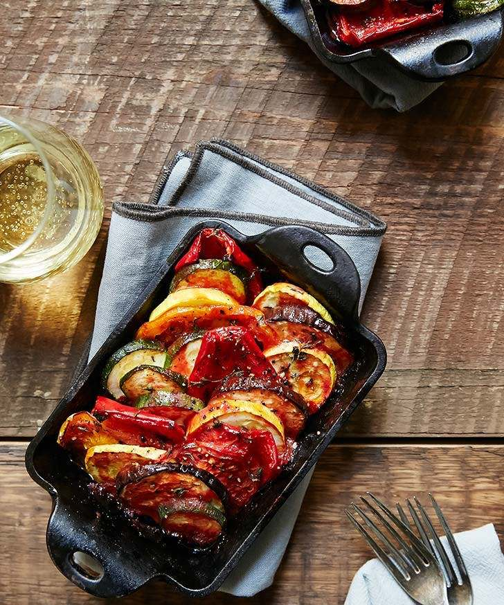 ratatouille is a cool idea of a main dish, this is a classic French dish of roasted veggies and greenery